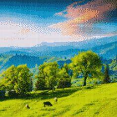 Spring Scenery, Cross Stitch Pictures, Cross Stitching, Painting, Art, Crossstitch, Diamond, Digital, Crochet