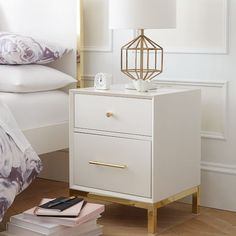Shop flynn nightstand from Pottery Barn Teen. Our teen furniture, decor and accessories collections feature fun and stylish flynn nightstand. Create a unique and cool teen or dorm room. Ikea Bedroom, White Bedroom, Modern Bedroom, Bedroom Furniture, Master Bedroom, Contemporary Bedroom, Gold Bedroom, Bedroom Classic, Master Suite