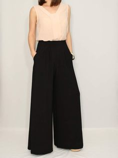 ABOUT: Long pants have wide leg cut and and drape in front. They has two pockets. Polyester/spandex blend is ideal for casual wear, they dont require