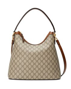 GG+Supreme+Medium+Hobo+Bag,+Beige/Ebony/Cuir+by+Gucci+at+Neiman+Marcus.