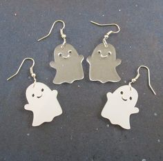 Happy Ghost Halloween Statement Dangle Earrings Smiling Kawaii Cute Pastel Goth Ghosts Jewelry