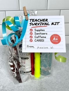 Staff Appreciation Gifts, Staff Gifts, Student Gifts, Best Teacher Gifts, Thank You Teacher Gifts, Teacher Stuff, Teacher Survival Kits, Survival Kit Gifts, Back To School Gifts For Teachers