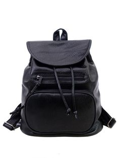 Black Back Pack with Industrial Chain Grab Handle - Black Shikumi