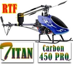 Titan Trex 450 PRO Metal RC Helicopter 6CH 3D Carbon RTF For Real 3D Flights. by Titan. $219.99. Titan Trex Carbon Fiber 450 PRO Electric RC Helicopter 6CH 3D RTF Ready To Fly!. Equipped with the Titan 6 channel Transmitter. Length: 26 Inches, Height: 10 Inches, Diameter for main blade: 28 Inches, Weight :27 Ounces! (750g). For 3-D Flights in All Directions Up Down Left Right Upside Down etc.. This is the Step Before Flying Gas Helicopters! Battery Charger is not included. Length...