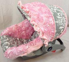 Infant Car Seat Covers, 4 Pc Set Pink Custom Car Seat Cover, Custom