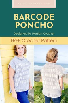 Stay nice and warm with this stylish and modern free crochet poncho pattern, the Barcode Poncho! This simple women's crochet poncho free pattern features a classic design that makes it a great wardrobe staple. #crochetponchopattern #freecrochetponcho #freecrochetponchopattern #crochetponchowomen Modern Crochet Patterns, Crochet Designs, Crochet Ideas, Crochet Projects, Knitting Patterns, Free Crochet, Crochet Tops, Crochet Sweaters, Crochet Summer