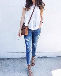 Simplify your Sunday style with a not-so-basic blouse & jeans.  : @girlmeetsgold. #YouStyled