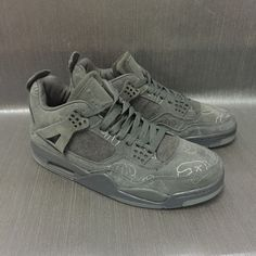 KAWS x Air Jordan 4 Sample Graffiti Grey Shoes