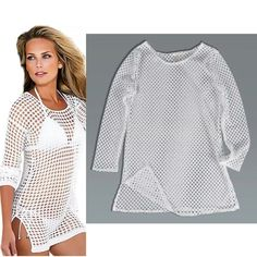 White Mesh Top Throw on a colorful Cami and go! Great over a bathing suit too. Nice stretch. NO TRADES Tops