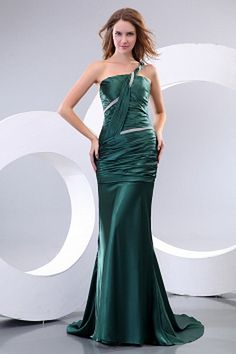 Flattering Dark Green Satin One Shoulder A-line Floor Length Pageant Dresses For Women Cheap Quinceanera Dresses, Cheap Formal Dresses, Cheap Gowns, Affordable Prom Dresses, Formal Gowns, Necklines For Dresses, Dresses With Sleeves, Pageant Dresses For Women, Silhouette
