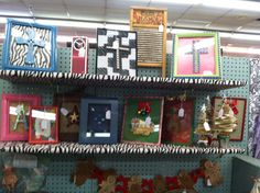 Upcycled framed crosses, vintage wash board, and Christmas items.
