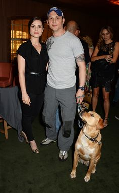 Charlotte Riley and Tom Hardy with Woody at the launch party of the BLAG clothing label | The Club at Cafe Royal | 16 July 2014 | London