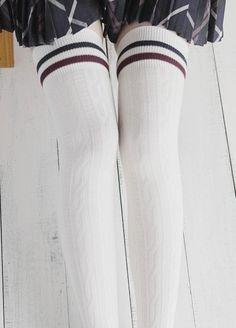 1c9d71afd3a Striped Knit Thigh High Socks · hhotaru · Knee Highs