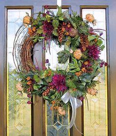 FALL Décor WREATH Silk Flower Arrangement Wall ...