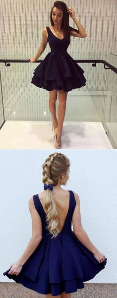 Simple V-Neck A-Line Homecoming Dress,Backless Short Party Dresses