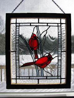Stained Glass Cardinal Pattern | Stained Glass Cardinal Panel by RedfordGlassStudio on Etsy, $125.00