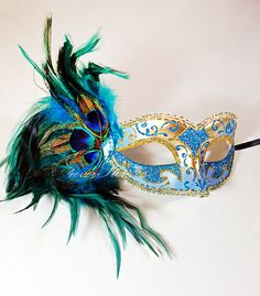 New Tiffany Blue & Gold Venetian Masquerade Mask by 4everstore, $23.95 for the bride maybe with white.