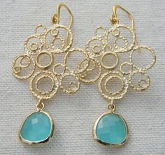 Just ordered these!!!  Aqua Blue Earrings in Gold Filigree Bride Bridal by Greenperidot, $24.50