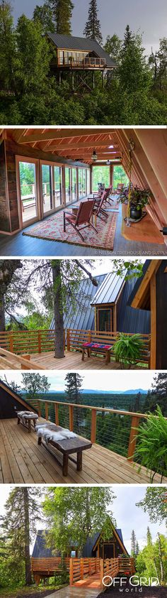 This beautiful treehouse cabin in Alaska offers panoramic views of the wilderness.
