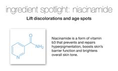 Niacinamide is a extremely effective skin repairing ingredient, so it's not surprising that it's in many anti-aging and acne products. Experience the benefits of improving uneven skin tone, enlarged pores, skin dullness and fine lines. All Vitamins, Acne Products, Free Advice, Uneven Skin Tone, Ageing, Anti Aging, Skincare, Beauty, Coming Of Age