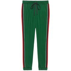Gucci Technical Jersey Jogging Pant (£480) ❤ liked on Polyvore featuring activewear, activewear pants, pants, green, pants & shorts, ready-to-wear, women and gucci