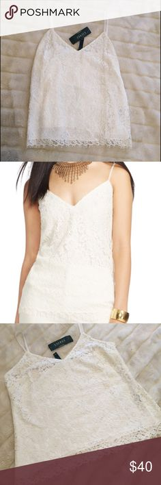 NWT Lauren Ralph Lauren Sz 16 Lace Cami Tank Shell Stunning NWT Lauren Ralph Lauren $155 slightly off white (color is called Pearl) lace camisole with velvet straps.  Classic piece perfect for a capsule wardrobe.  Beautiful layered for office/career wear or wear alone for a pretty look.  Edgy with black skinnies or sweet with a full skirt.  Hem has fringe-y eyelash detail.  Great quality, perfect new condition!  Size 16 (XL). Lauren Ralph Lauren Tops Camisoles