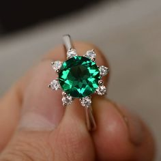 Emerald Engagement Ring Sterling Silver Brilliant by KnightJewelry
