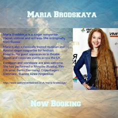 Maria is also a classically trained musician and Russian singer songwriter for festivals.  Enquiries for guest appearances in theatre shows and corporate events across the UK.  European and worldwide are also welcome.