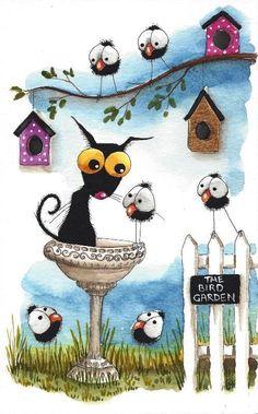 Original watercolor painting whimsical Stressie cat bird bath crow garden house #IllustrationArt