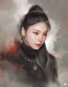 Art by Tanakit Boukom Digital Portrait, Digital Art, Japanese Drawings, Beautiful Young Lady, Cartoon Girl Drawing, Digital Painting Tutorials, Cute Girl Photo, Kpop Fanart, Painting & Drawing