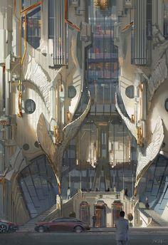 architecture - on Fantasy Concept Art, Game Concept Art, Fantasy Artwork, Fantasy City, Fantasy Places, Fantasy World, Futuristic Architecture, Art And Architecture, Fantasy Landscape