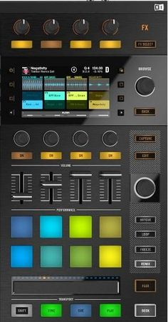 The Traktor Kontrol with full colour displays and touch sensitive controls for effects, filters and browse functions, the high res displays brings your music to life. Home Music, Dj Music, Dance Music, Native Instruments, Musical Instruments, Home Recording Studio Setup, Dj Sound, Spaceship Interior, Dj Setup