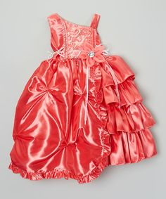 Look at this #zulilyfind! Coral Tiered Pick-Up Dress - Toddler & Girls by ClassyKidzShop #zulilyfinds