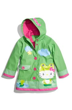 Hello Kitty froggy raincoat with ruffles! Raincoat of the season for the 2-4 year old crowd