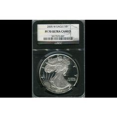 Shop 2005-W $1 American Silver Eagle Retro Black Holder PF70UC/NGC and other jewelry, art, coins, rugs and real estate at www.aantv.com