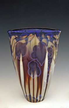 "BILL CAMPBELL Art Pottery Carved 7.25"" X 4.75"" Vase Crystalline Glaze Porcelain"