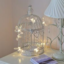 SHABBY CHIC DECORATIVE LED BUTTERFLY METAL HEART BIRD CAGE WEDDING TABLE LIGHT