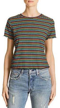 Sadie & Sage Rainbow Stripe Tee Casual T Shirts, Green Stripes, Striped Tee, Short Sleeve Tee, Pink Ladies, Clothes For Women, Tees, Sadie, Tee Online