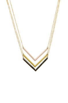 ShopSosie Style : Triple Chevron Necklace in Olive