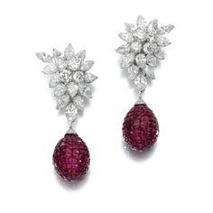 Pair of diamond earrings, Van Cleef & Arpels, circa 1970 and a pair of ruby pendants   lot   Sotheby's