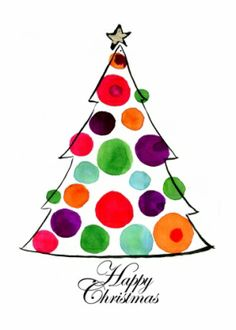 Watercolour Christmas tree. Happy Christmas card