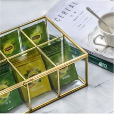 NCYP Glass Terrarium Box Tea Coffee Bag Storage Organizer image 2 Terrarium Containers, Glass Terrarium, Terrarium Ideas, Terrariums, Planter Ideas, Frame Display, Display Case, Tea Bag Storage, Box Storage
