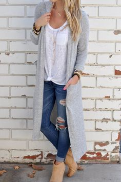 $33.99. Women's Knit Going out / Street chic Long Solid Gray Long Sleeve Cotton Fall Medium Sweaters Cardigan