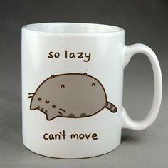 So Lazy Cant Move, pusheen mug, pusheen coffee mug, ceramic, two sided mug