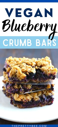 These vegan blueberry crumb bars are simple to make and so delicious! A buttery oat topping is impossible to resist! #oats #crumble #dairyfree
