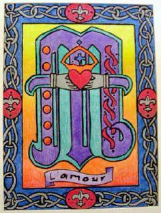 crayon resist illuminated letters.
