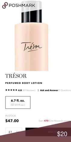 Lancome Tresor Lotion Lancome Tresor Lotion! 6.7 oz.  25% used. I can bundle for you with the Tresor Perfume if you would like! Make me an offer! Lancome Other