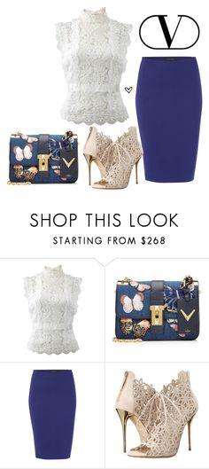"""Bez naslova #3756"" by lillyrosalie on Polyvore featuring moda, Oscar de la Renta, Valentino i Sarah Pacini"