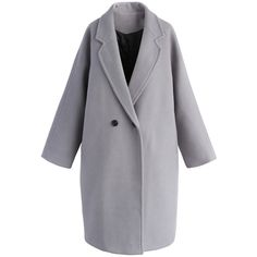 Chicwish Applaud Your Charm Wool-blend Longline Coat in Grey (£68) ❤ liked on Polyvore featuring outerwear, coats, grey, long grey coat, long coat, fur-lined coats, grey coat and gray coat