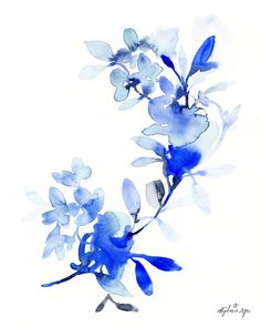 Abstract organic natural leaves and flowers in hues of blue. Printed on beautiful matte archival paper using archival inks. Every fine art print is signed and d Watercolor Print, Watercolor Flowers, Watercolor Paintings, Watercolours, Watercolor Cards, Original Art, Original Paintings, Landscape Prints, Flower Backgrounds